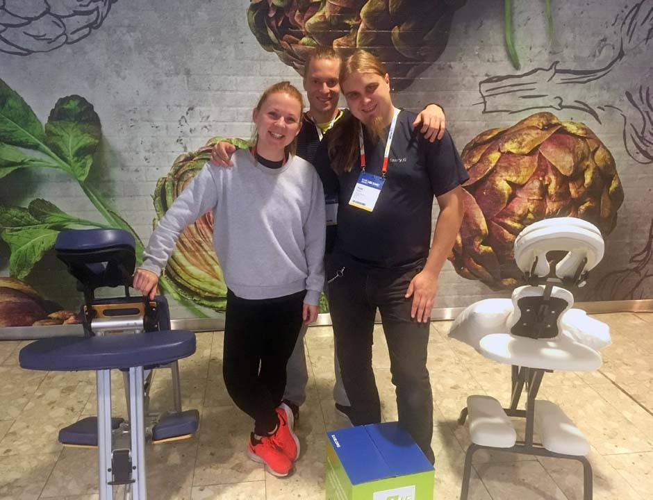 EAIE 2019 International Conference in Helsinki Four masseurs Toni Ilola, Jarno Mattila, Ville Vertanen and Lindsay Macdonald 3 days approximately 270 massages